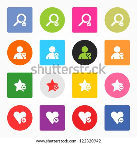 Loupe, user profile, star favorite, heart bookmark icon with plus, delete, check mark and minus sign. 16 popular circle and rounded square internet button. Vector illustration design element 8 eps - stock vector