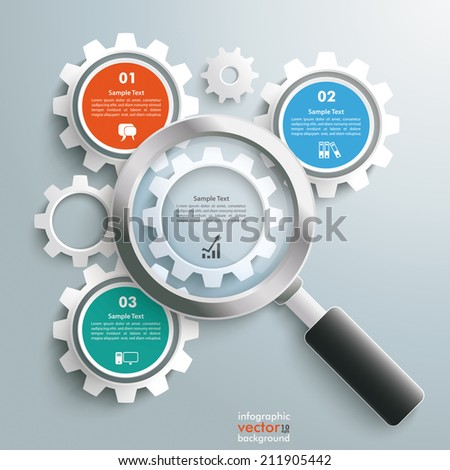 Loupe with gear wheels on the grey background. Eps 10 vector file. - stock vector