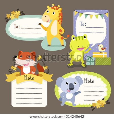lovable diverse animals memo paper collection set  - stock vector
