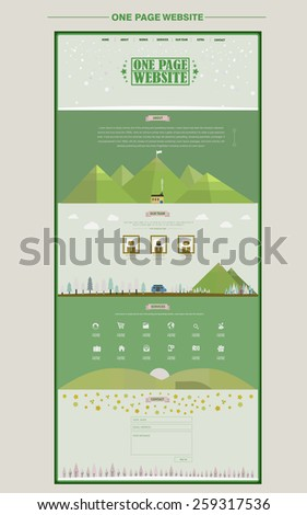 lovable one page website design template with natural elements in green - stock vector