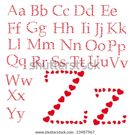 Love alphabet made of small hearts. To see similar please visit my gallery. - stock vector