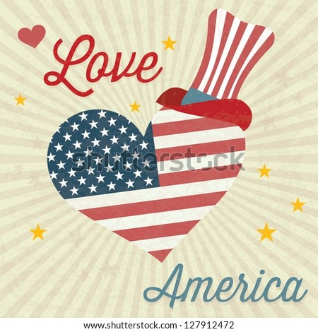 Love America (big heart and Usa flag) with commemorative hat. Vintage background - stock vector