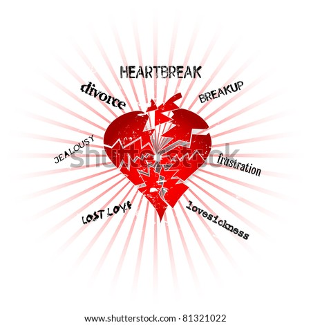 love and heartbreak concept, vector format - stock vector