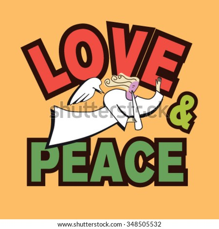 Love and Peace - stock vector