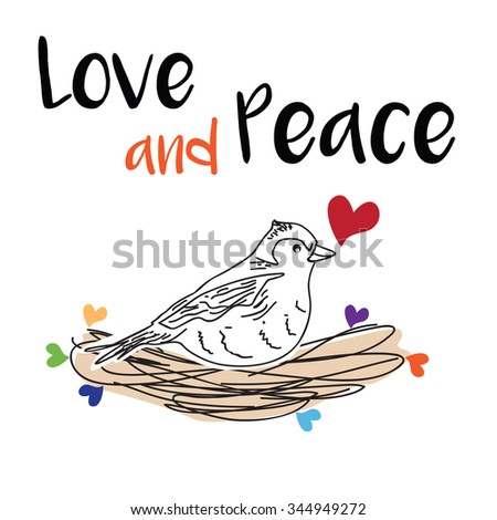 Love and peace card - stock vector