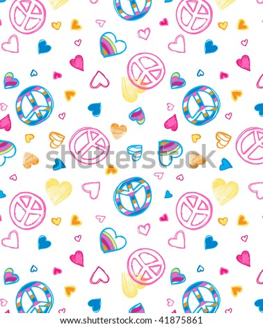 Love and Peace seamless wallpaper - stock vector