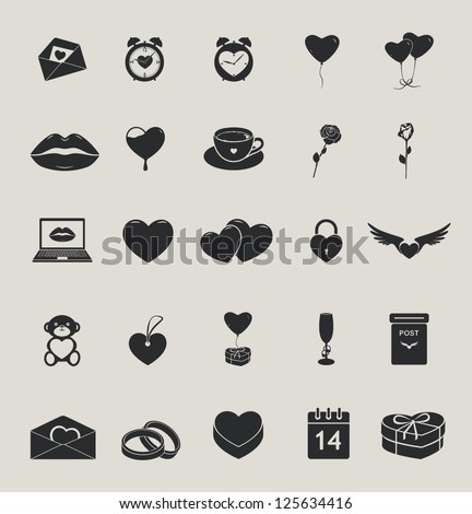 love and saint valentine's day vector icons set - stock vector