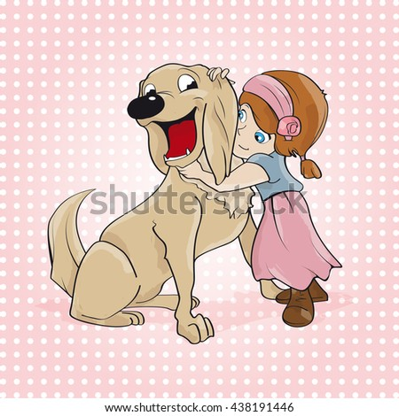 love and tenderness of a little girl with red hair with her dog, a happy golden retriever. she caresses him tenderly.  - stock vector