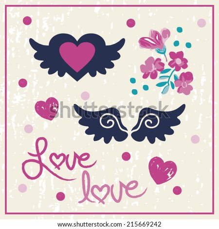 Love Angel Wings & Roses Graphic Vector Icon Pack - stock vector