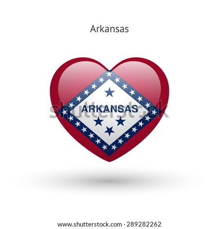 Love Arkansas state symbol. Heart flag icon. Vector illustration. - stock vector