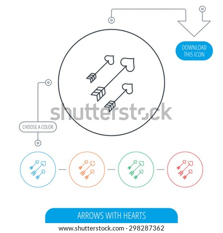 Love arrows icon. Amour equipment sign. Archer weapon with hearts symbol. Line circle buttons. Download arrow symbol. Vector - stock vector