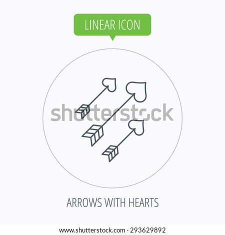 Love arrows icon. Amour equipment sign. Archer weapon with hearts symbol. Linear outline circle button. Vector - stock vector