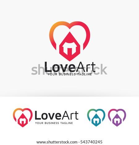 Love Art Studio Art Pencil Love Stock Vector Royalty Free