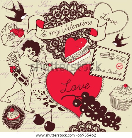 Love background with cupid - stock vector