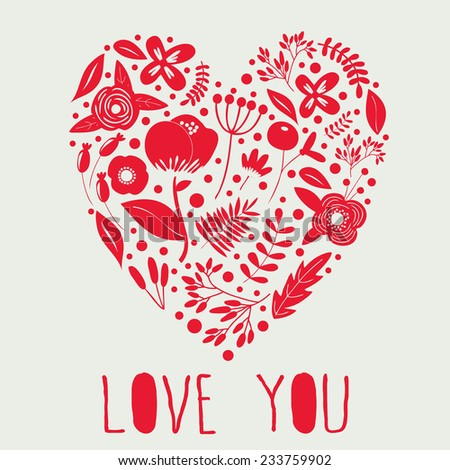 Love background with floral heart - stock vector
