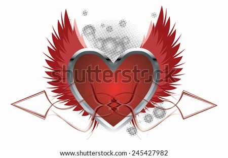 Love Background With Heart - vector illustration - stock vector