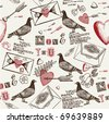 love background with pigeons - stock vector
