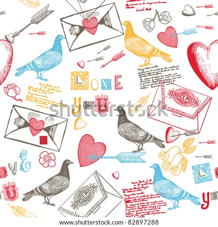 love background with pigeons hearts and love letters - stock vector