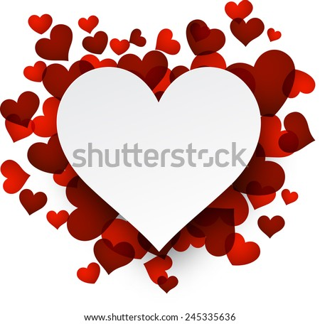 Love background with red hearts. Paper note. Valentine's greeting card. Vector illustration.  - stock vector