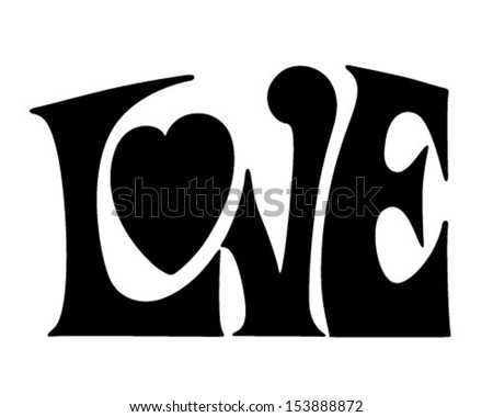 Love Banner - Retro Clip Art Illustration - stock vector