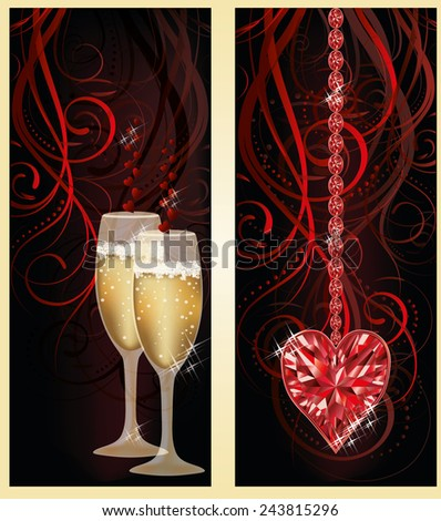 Love banners with champagne and ruby heart, vector illustration - stock vector