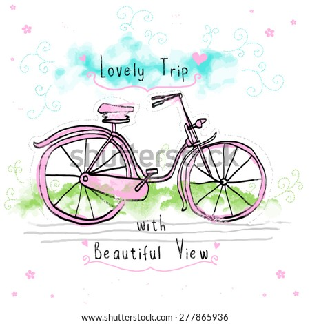 love bicycle child drawing lovely trip fashion teeshirt graphic design  - stock vector