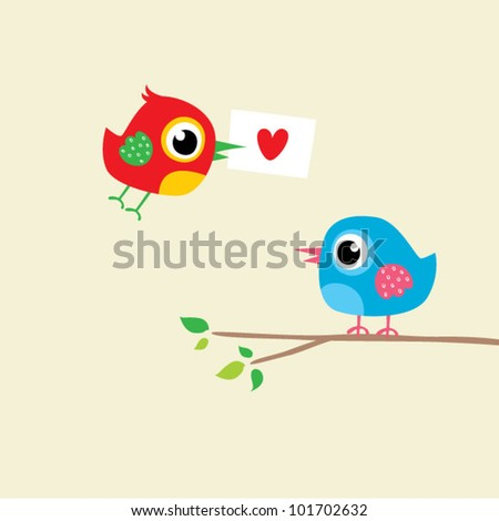 love bird couple - stock vector