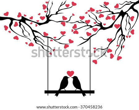 love bird tree - stock vector