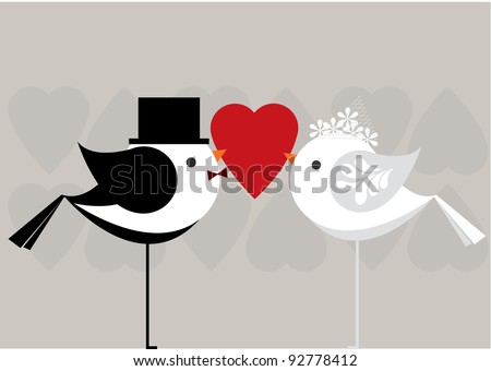 love birds getting married vector/illustration - stock vector