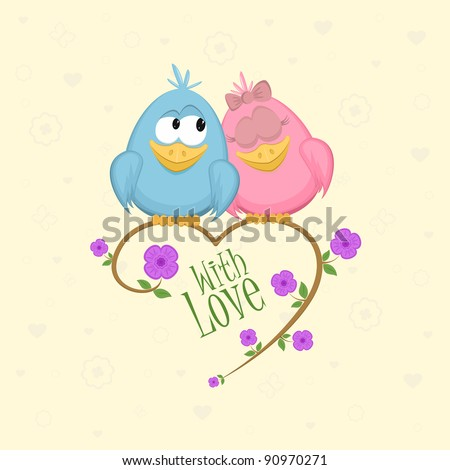 Love birds on the branch, vector illustration - stock vector