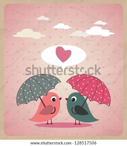 Love Birds.Vector - stock vector