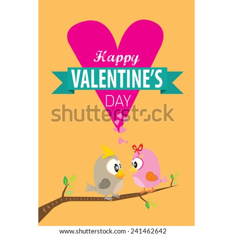 love birds vector illustration. valentine day love beautiful card with cute love couple birds