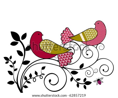 love birds with vine and bee - stock vector