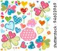 love butterflies and flowers set - stock vector