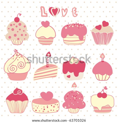 love cake set - stock vector
