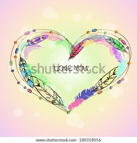 Love card with colorful bird feathers and beads in shape of heart - stock vector