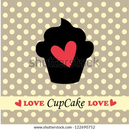 Love card with cupcake - stock vector