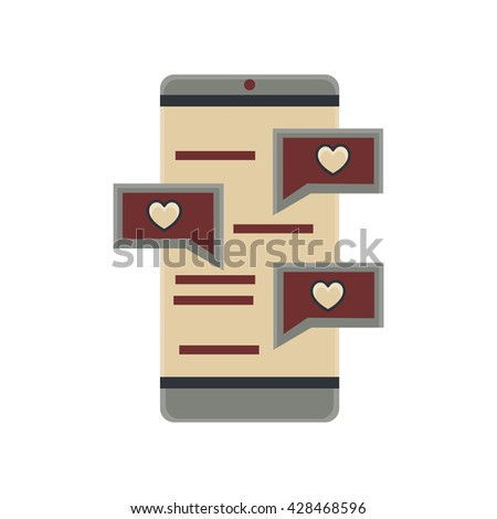 love chat in phone flat icon in vintage color theme illustration object - stock vector