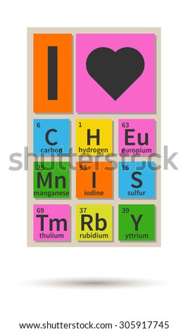 Love Chemistry Banner Periodic Table Elements Stock Vector 305917745