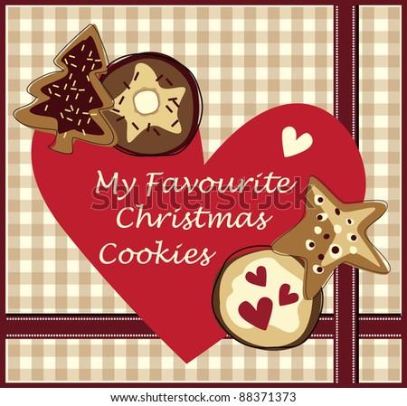 Love Christmas cookies card - stock vector
