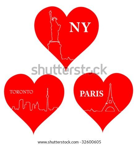 love city hearts - stock vector