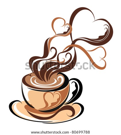 Love coffee. Cup of coffee with fragrant steam in the form of hearts - stock vector