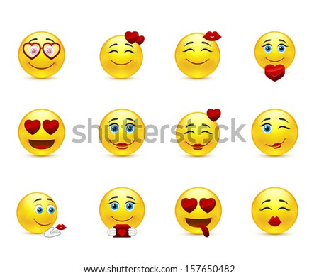 Love collection of vector beauty smilies - stock vector