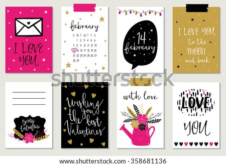 Love collection with 8 cards. Perfect for valentines day, stickers, birthday, save the date invitation. - stock vector