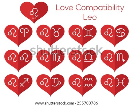 Love compatibility - Leo. Astrological signs of the zodiac. Vector set of flat thin line icons in heart. - stock vector