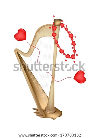 Love Concept, An Illustration of A Single Harp Playing A Romantic Music for Someone Special Isolated on White Background.  - stock vector