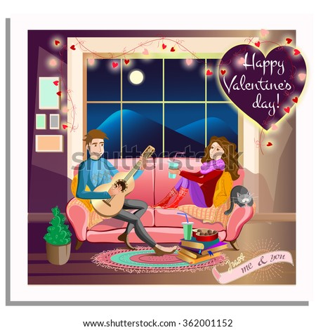 love concept.Cartoon couple together in love. Boy is playing the guitar to his girlfriend in the evening in the room on the sofa near the window. Valentines day card. Vector illustration - stock vector