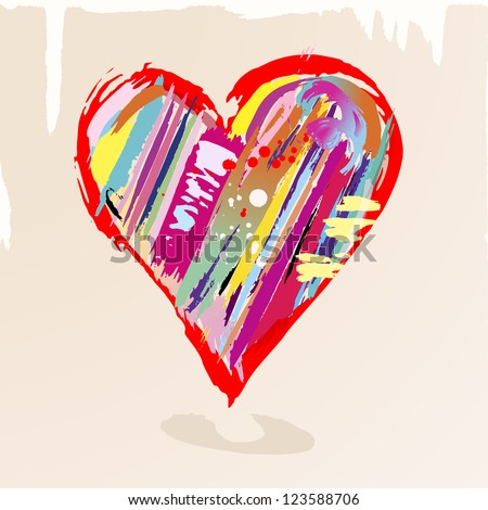 love concept, colorful heart with paint strokes and splashes, grungy - stock vector