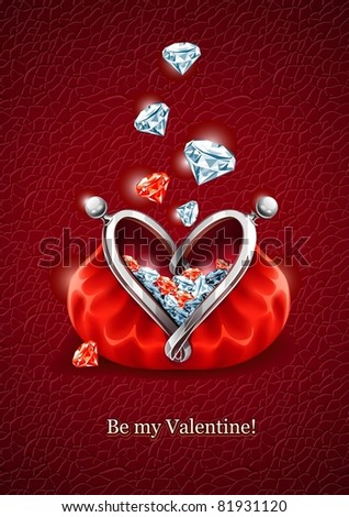Love concept. Diamond gems falling into the red wallet with lock in form of heart. Vector illustration, EPS8 - stock vector