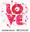 Love concept, grungy w. paint splatters - stock
